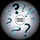 circular image of question marks around the word knowledge