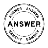 Grunge black answer word round rubber seal stamp on white background