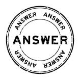 Grunge black answer word round rubber seal stamp on white background