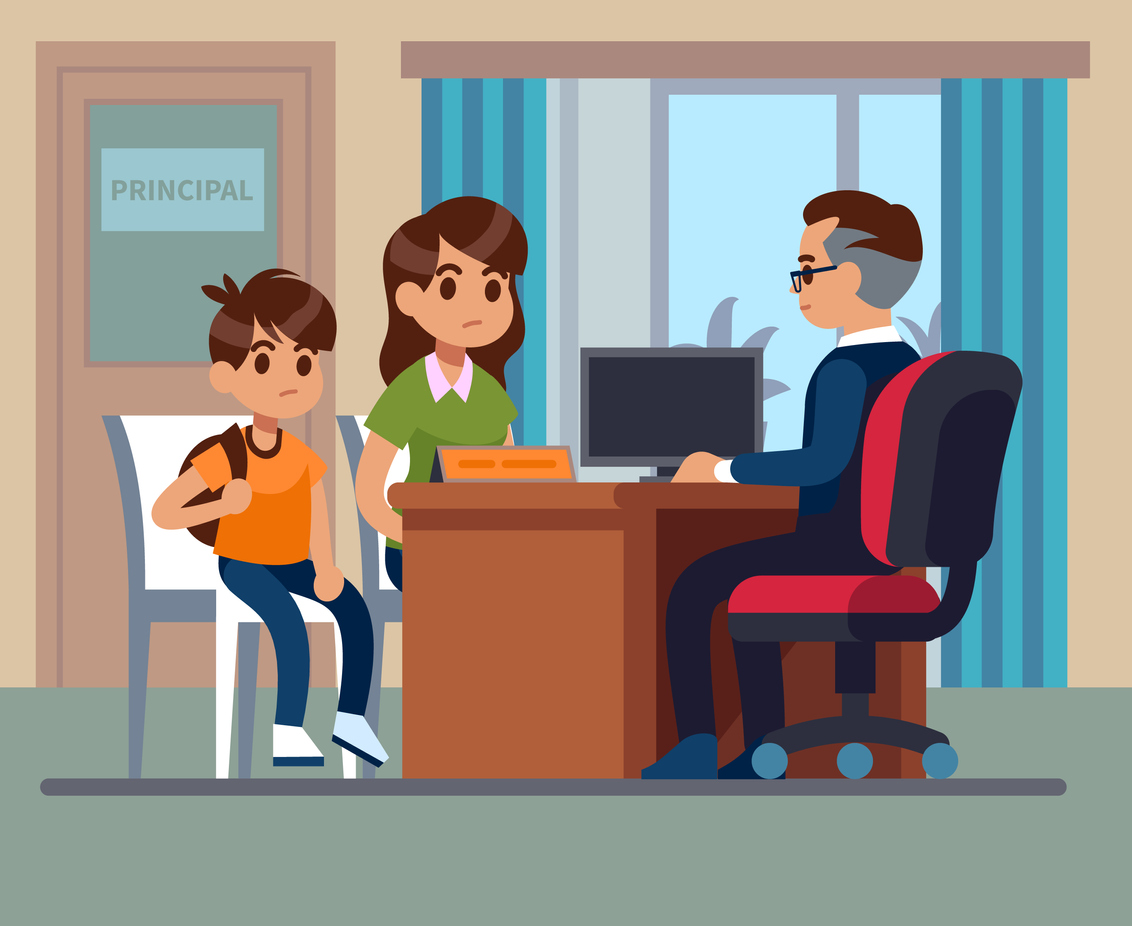 Principal school. Parents kids teacher meeting in office. Unhappy mom, son talk with angry principal. School education