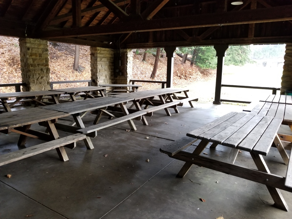 Empty park shelter with picnic tables